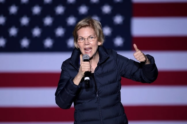 Elizabeth Warren as seen while speaking with supporters at a campaign rally at Laney College in Oakland, California, United States in May 2019