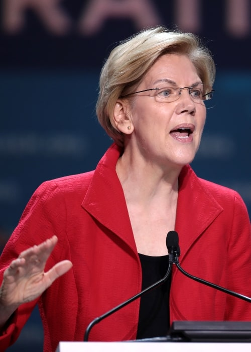 Elizabeth Warren as seen while speaking with attendees at the 2019 California Democratic Party State Convention at the George R. Moscone Convention Center in San Francisco, California, United States