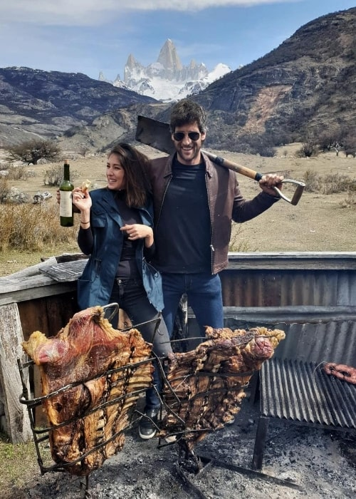 Solenn Heussaff as seen while posing for a picture along with Nico Bolzico in Fitz Roy, El Chaltén, Argentina in October 2018