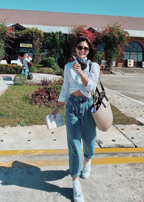 Lovi Poe as seen while smiling in a picture in Laoag City, Ilocos Norte, Philippines in December 2019