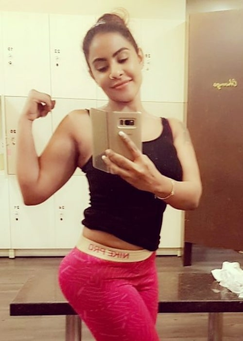 Sri Reddy as seen while flexing her biceps for a selfie that was taken in January 2018