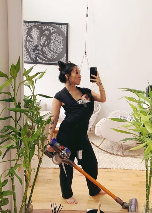 Asa Akira as seen in a selfie taken with her baby in April 2019