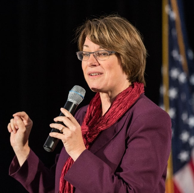Amy Klobuchar as seen while speaking in Minneapolis at a Hillary for MN rally at Plaza Verde in October 2016
