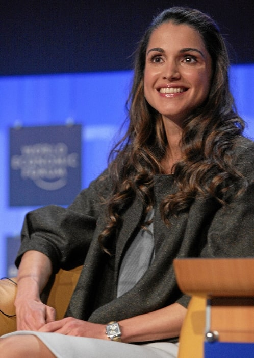 Queen Rania of Jordan smiling during the session 'Corporate Global Citizenship in the 21st Century' at the Annual Meeting 2008 of the World Economic Forum in Davos, Switzerland on January 24, 2008