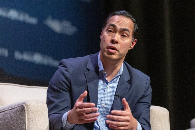 Julian Castro as seen while speaking at the Heartland Forum in Storm Lake, Iowa, United States in March 2019