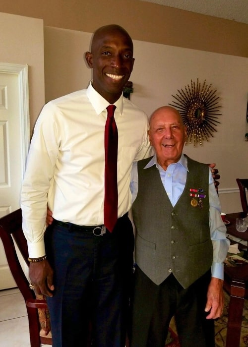 Wayne Messam (Left) as seen while posing for the camera along with World War II Veteran Luis A. Morales in June 2019