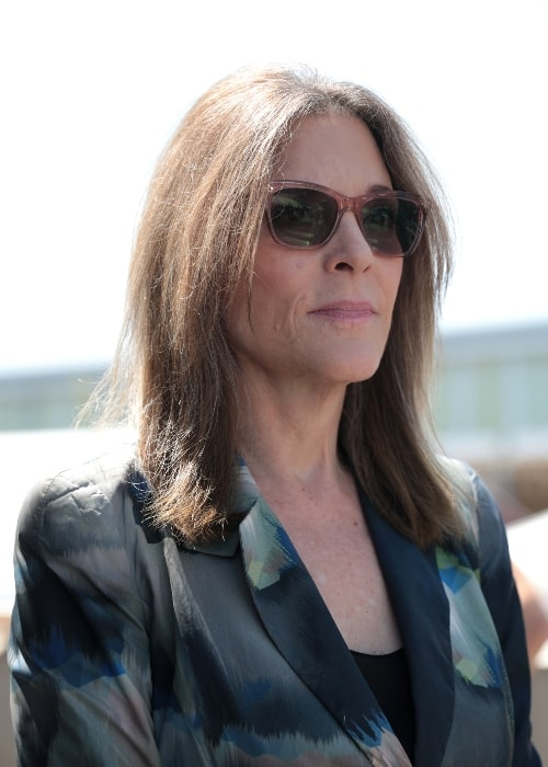 Marianne Williamson as seen while speaking with supporters at the Des Moines Register's Political Soapbox at the 2019 Iowa State Fair in Des Moines, Iowa