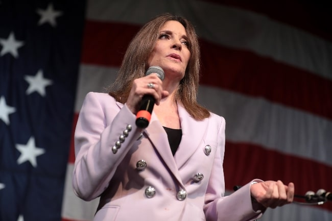 Marianne Williamson as seen while speaking with attendees at the 2019 Iowa Democratic Wing Ding at Surf Ballroom in Clear Lake, Iowa