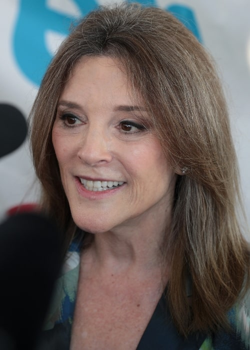 Marianne Williamson as seen while speaking with the media at the 2019 Iowa State Fair in Des Moines, Iowa, United States