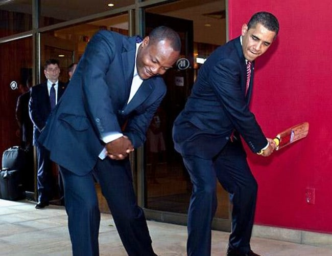 Brian Lara (Left) and Barack Obama as seen in April 2009