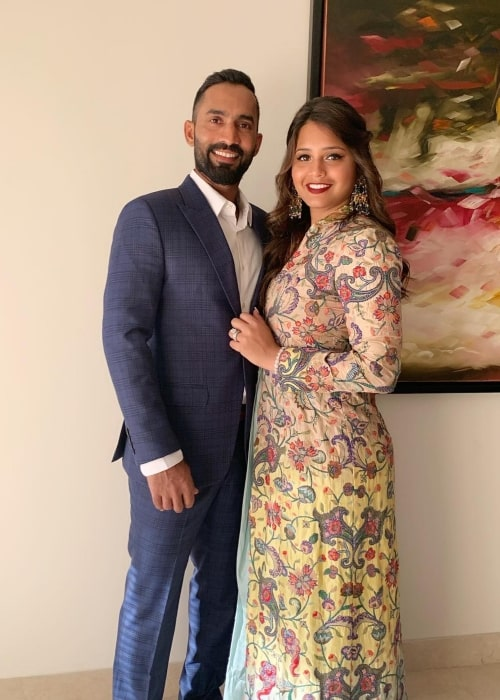 Dinesh Karthik as seen in a picture with his wife Dipika Pallikal Karthik taken in March 2019