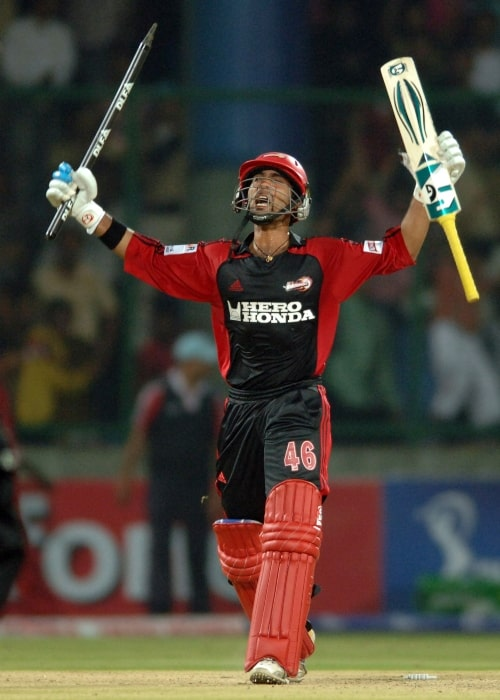 Dinesh Karthik in a picture taken celebrating the victory against the Mumbai Indians during the Indian Premier League T20 Championship at Ferozeshah Kotla Stadium in New Delhi on May 24, 2008
