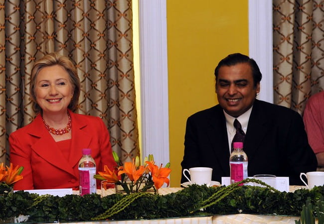 Mukesh Ambani (Right) and Hillary Clinton as seen in July 2009