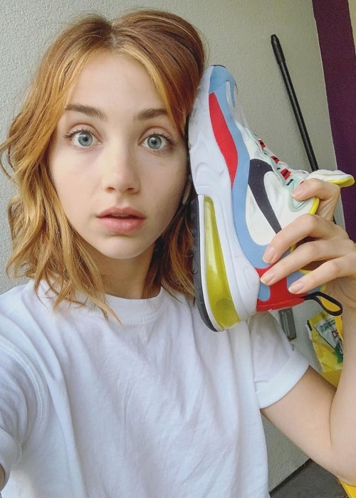 Emily Rudd as seen in a selfie taken while showcasing a shoe from Nike in October 2019