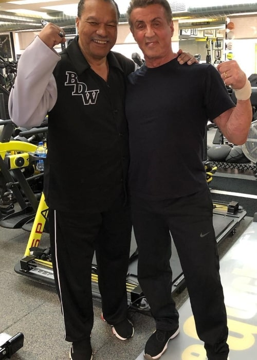 Billy Dee Williams as seen in a picture with actor Sylvester Stallone taken at the gym in February 2019