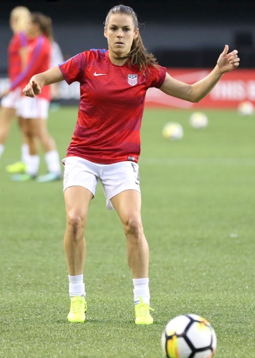 Kelley O'Hara as seen in a picture taken during warm-up on September 19, 2017