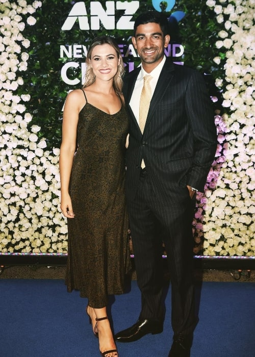 Ish Sodhi as seen in a picture with his wife Angelina Sodhi at the ANZ New Zealand Cricket Award event in January 2019