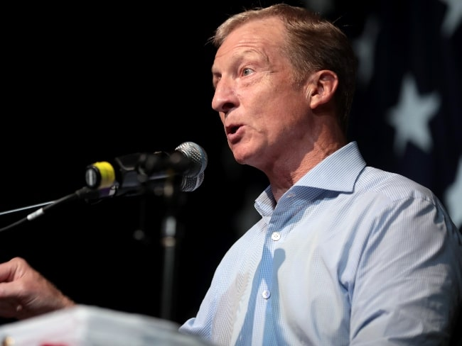 Tom Steyer as seen while speaking with attendees at the 2019 Iowa Democratic Wing Ding at Surf Ballroom in Clear Lake, Iowa, United States in August 2019