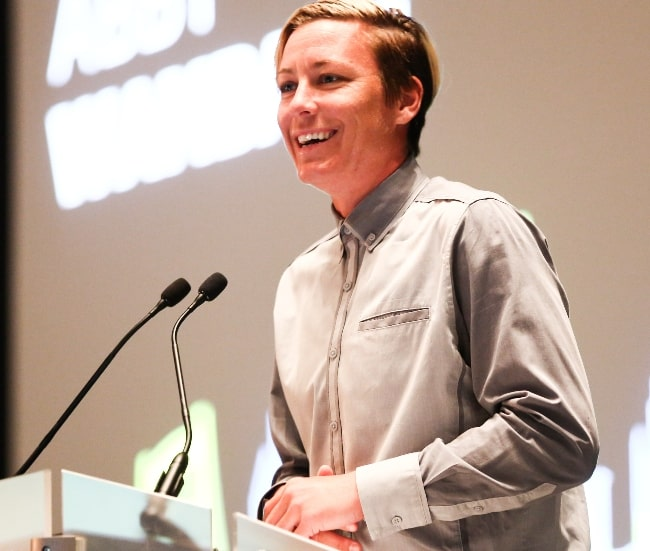 Abby Wambach as seen while speaking during the Connect Sports General Session in August 2015