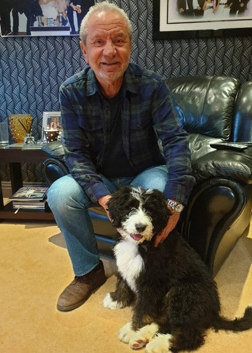 Alan Sugar with his dog as seen in May 2019