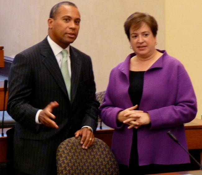 Deval Patrick as seen along with Elena Kagan, seen here as Dean of Harvard Law School, during an event in September 2008
