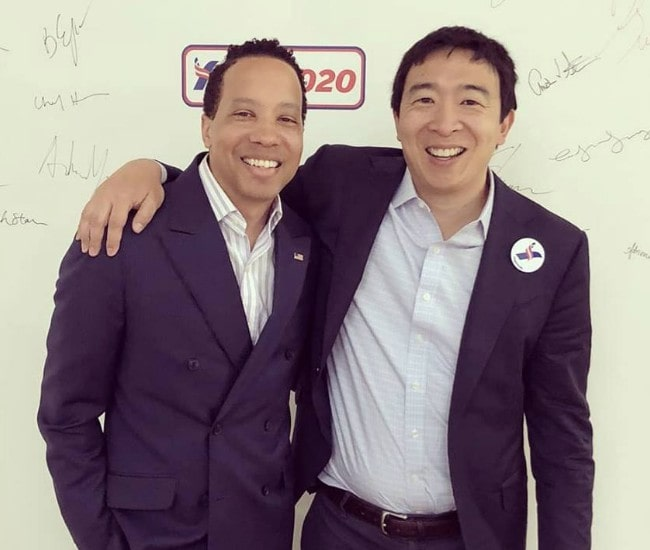 Andrew Yang (Right) and James Felton Keith as seen in May 2018
