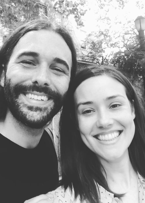 Megan Boone as seen in a black-and-white picture along with her friend Jonathan Van Ness in August 2019