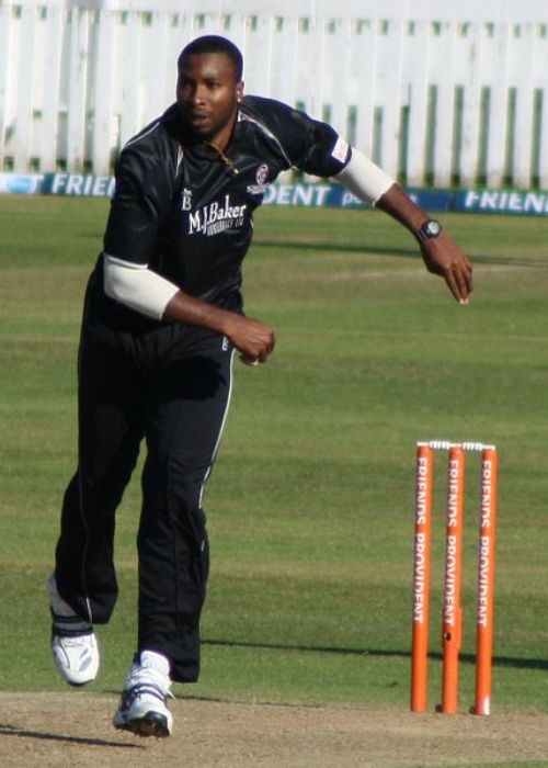 Kieron Pollard bowling for Somerset in a Friends Provident T20 match against Essex in Taunton in 2010