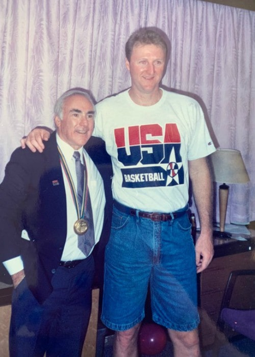 Larry Bird (Right) and Agent Bob Woolf as seen in 1992