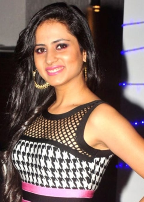 Sargun Mehta as seen while smiling in a picture at Ravi Dubey's birthday bash in December 2014