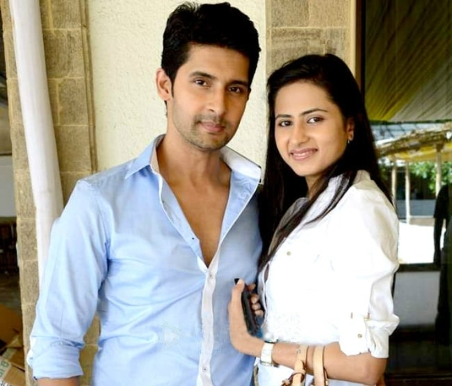Sargun Mehta as seen while posing for a picture along with Ravi Dubey at the launch party of Bindass's show 'Yeh Hai Aashiqui' in August 2014