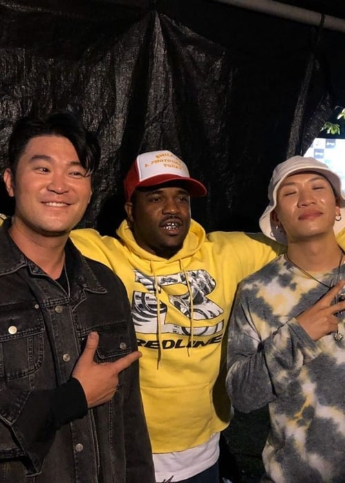 Choiza as seen in a picture taken with fellow rapper Gaeko (Left) and American rapper A$AP Ferg (Center) in October 2019