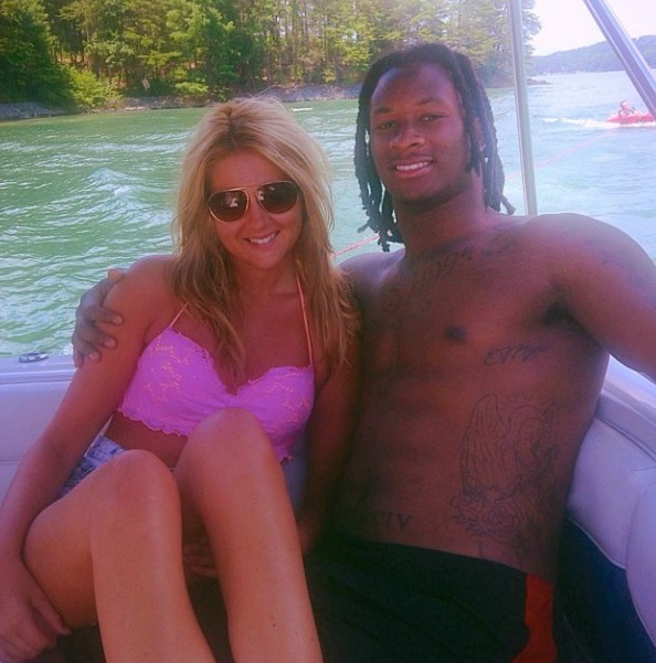 Todd Gurley with his ex-girlfreind Olivia enjoying in boat