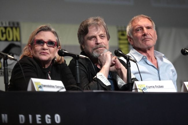 Carrie Fisher, Mark Hamill, and Harrison Ford speaking at the San Diego Comic-Con International for Star Wars The Force Awakens in 2015