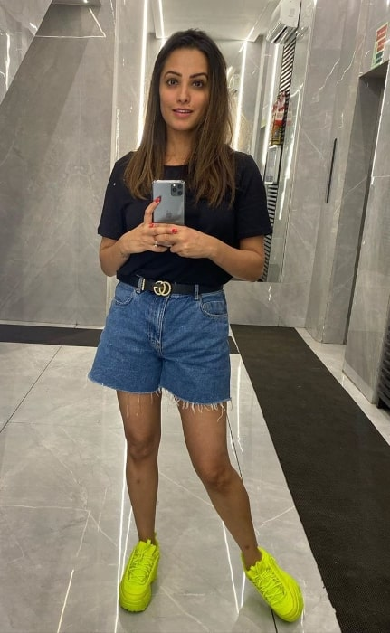 Anita Hassanandani as seen while taking a mirror selfie showing her new shoes in November 2019