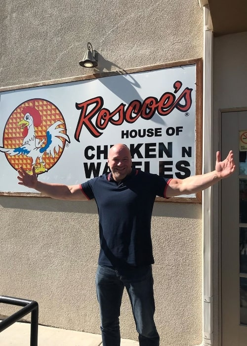 Dana White as seen while posing for the camera at Roscoe's Chicken & Waffles in August 2019
