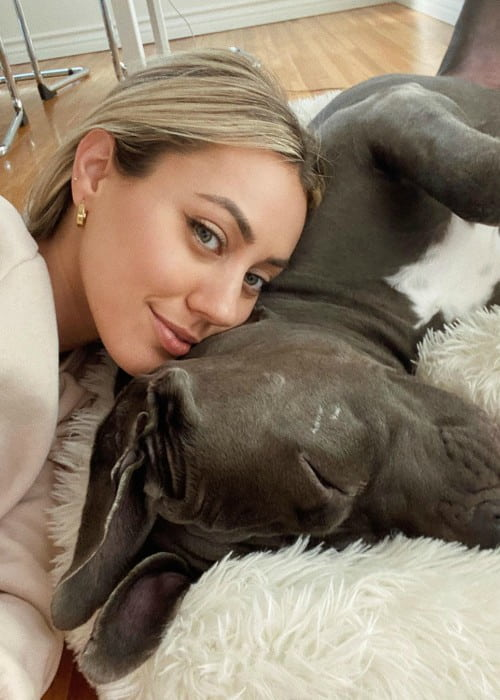 Camden Scott in a selfie with her dog as seen in January 2020