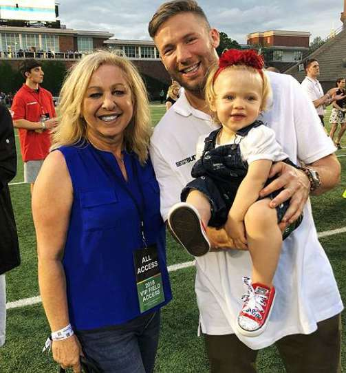 Julian Edelman with his mother, Angela Edelman and daughter, Lily