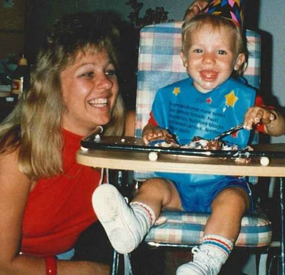Julian Edelman with his mother, Angela Edelman during his childhood
