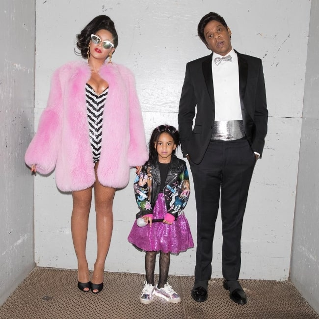 Blue Ivy Carter as seen while posing for the camera along with her parents in November 2016