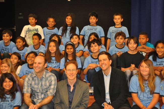 Ed posing with the students of the non-profit organization Education Through Music-Los Angeles