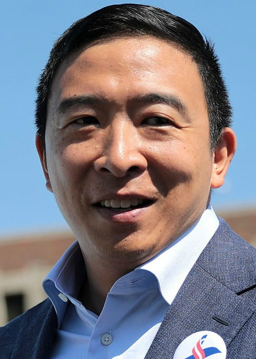 Andrew Yang speaking with supporters at the Des Moines Register's Political Soapbox in August 2019