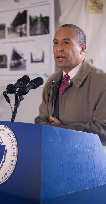 Deval Patrick as seen while speaking at a 2014 Groundbreaking event for the replacement of four bridges in New Bedford and Fall River along the future South Coast Rail right-of-way in November 2014