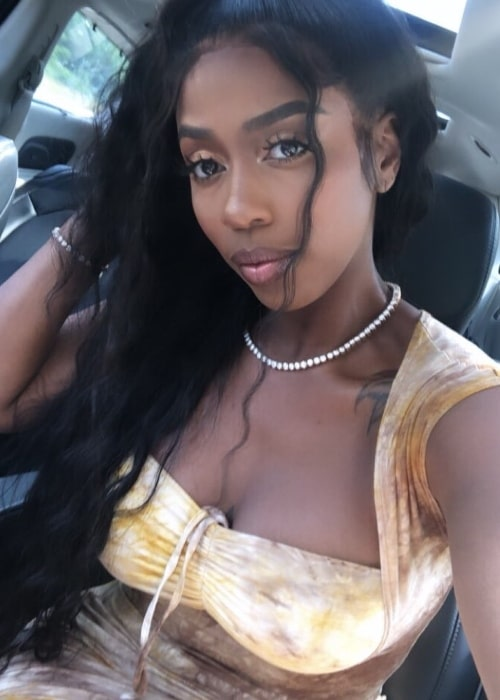 Kash Doll as seen while taking a selfie in Detroit, Michigan, United States in July 2019