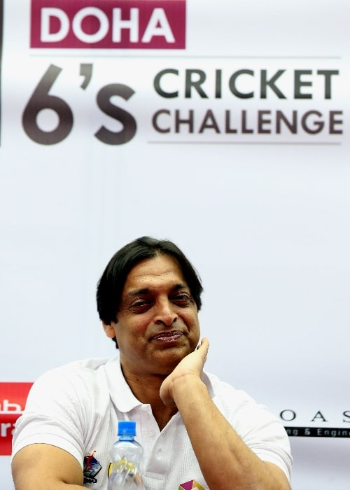 Shoaib Akhtar as seen while smiling in a picture taken during a function in Doha, Qatar in April 2014