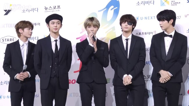 All the TXT members as seen at Soribada Awards on August 23, 2019