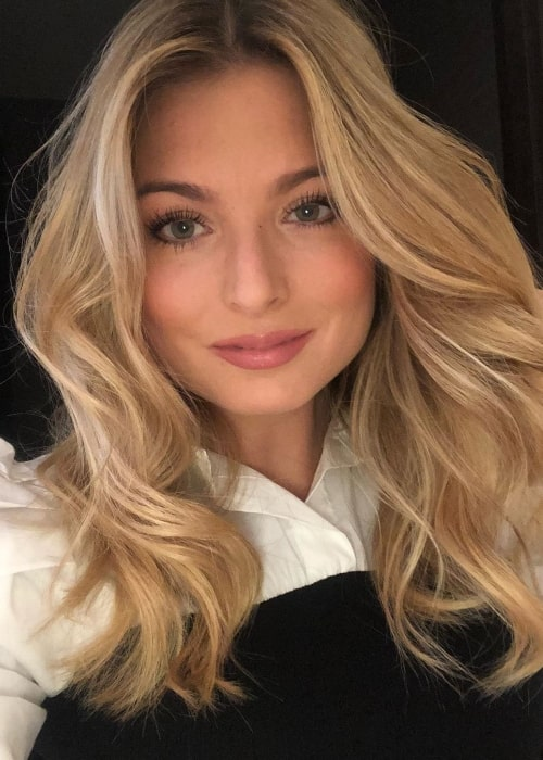 Zara Holland as seen while smiling in a selfie in April 2020