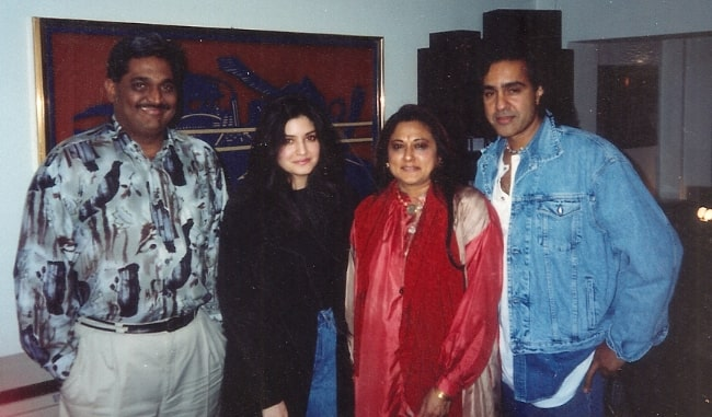 From Left to Right - Shashi Gopal, Nazia Hassan, Kalpana Gopal, and Biddu Appaiah as seen while posing for a picture circa 1994