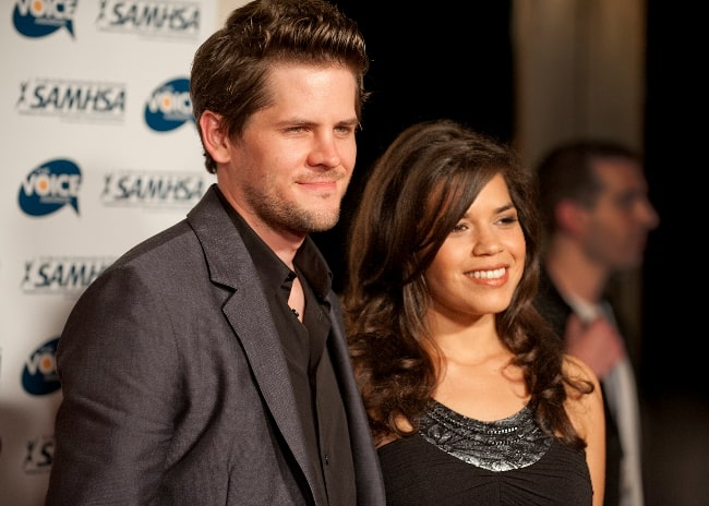 Ryan Piers Williams as seen while posing for the camera alongside America Ferrera on the red carpet at the 2010 Voice Awards at Paramount Studios in Hollywood in October 2010