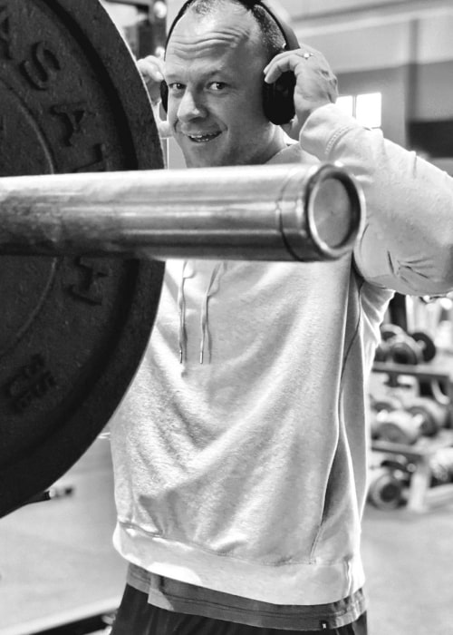 Cory LeRoy as seen in a black and white picture that was taken at the LaioneBuilt Fitness gym in May 2020